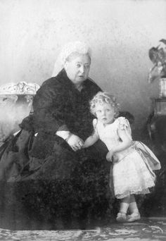 Queen Victoria & her great-grandson, Prince Edward VIII (Edward Albert Christian George Andrew Patrick David) of York, UK (later Prince of Wales, King Edward VIII & last, Duke of Windsor) by Hughes & Queen Victoria Family, Queen Victoria Prince Albert, Victoria And Albert, Queen Victoria Young, Princess Victoria, Belle Epoque, Edward Viii, Edward Albert, Reine Victoria
