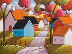 18x24 Town Road Original Modern Folk Art Landscape Abstract Painting Horvath | eBay