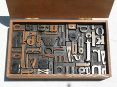 Antique Letterpress Wood Type Graphic Design All Lower Case Letters In Wood Box