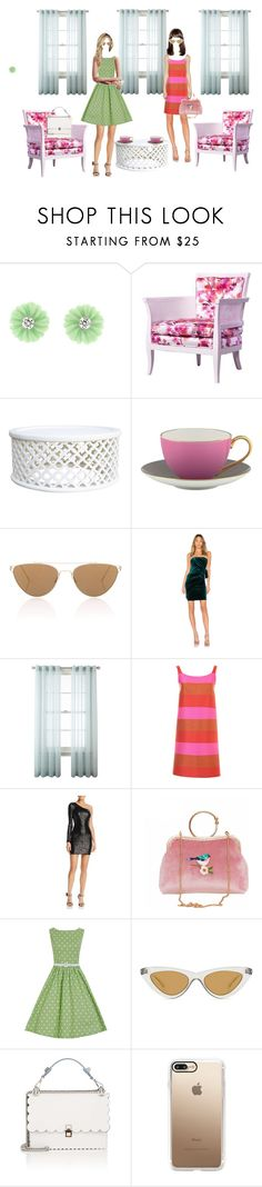 """""""Встреча"""" by alex9668 ❤ liked on Polyvore featuring Irene Neuwirth, Kate Spade, Oliver Peoples, Michael Costello, Royal Velvet, Gianluca Capannolo, Nookie, Le Specs, Fendi and Casetify"""