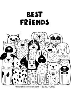 Black and white card with doodle dogs. Can be used for child books, cards, mug, T-shirt print. Funny Dogs, Funny Animals, Animal Doodles, Pottery Painting Designs, Doodle Dog, Dog Selfie, Cartoon Sketches, Dog Illustration, Cute Doodles