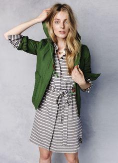 Cloudburst Jacket and Stripescreen Shirtdress
