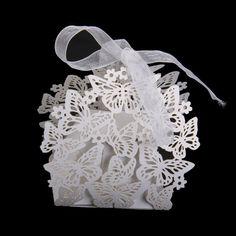 Tinksky Hollow Farfalla Stile Caramelle Scatole Portaconfetti con Nastri - 50pcs: Amazon.it: Fai da te