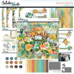 Serendipity: The act of finding something valuable or delightful when you are not looking for it; a happy coincidence. Serendipity is a collection full of whimsical and unique elements, along with beautifully blended shabby papers, all designed to help you create delightful and fun pages.