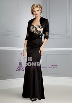 Trumpet/ Mermaid Strapless Floor-length in Satin Mother of the Bride Dress
