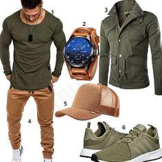 Street-Style für Männer in Olivgrün & Beige (m0636) #uhr #jacke #joggingshose #cap #adidas #outfit #style #fashion #menswear #herren #männer #shirt #mode #styling #sneaker #menstyle #mensfashion #menswear #inspiration #cloth #clothing #ootd #herrenoutfit #männeroutfit