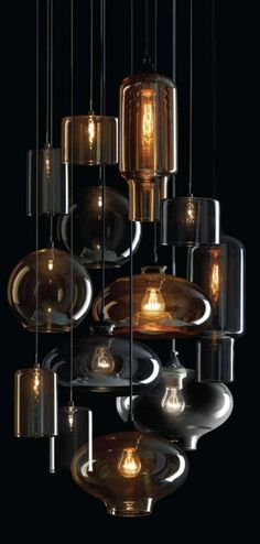 Cluster of blown glass pendant lights.