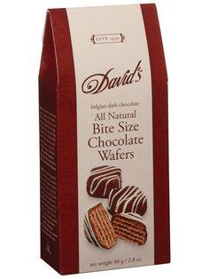 DARK CHOCOLATE BITE SIZE WAFERS  { ITEM: 2189 }  Bite size decadent Belgian dark chocolate covered wafers. Irresistable!  80g / 2.8oz 12 / Case