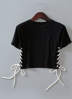 Brief Round Neck Short Sleeve Women's Cropped Tee - BLACK ONE SIZE(FIT SIZE XS TO M) Mobile