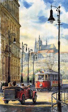 Prague Kaprova Street Painting  - Prague Kaprova Street Fine Art Print