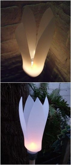 This lovely garden petal lights is an great example of DIY Recycle projects. They are made with empty detergent bottles. Garden Lighting Projects, Diy Garden Projects, Diy Garden Decor, Cool Diy Projects, Garden Crafts, Garden Tips, Outdoor Projects, Garden Ideas With Plastic Bottles, Reuse Plastic Bottles