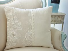 Vintage French cutwork embroidery pillow w/cream big floral design