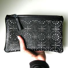 Faux Leather Lace Cut Out Pouch  Eyelet Black and by FabParlor