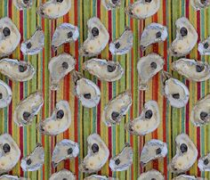 Oystersvertical fabric by luv2silkpaint on Spoonflower - custom fabric