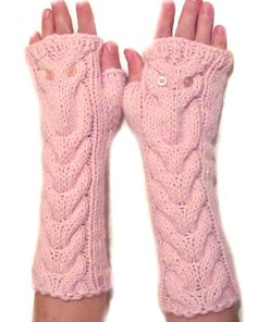 Owl Pale Pink Long Gloves Hand Knit Mittens Alpaca by NastiaDi