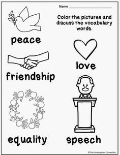 Vocabulary for MLK Jr day Freebie! Great for kindergarten. Color and discuss.