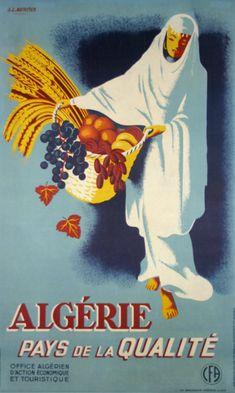 Vintage Travel Poster - Algérie/Algeria - Pays de la Qualité - by A. L. Mercier - 1938.