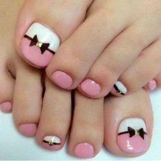Nail care is essential as nails protect the tips of our fingers and toes. No expensive implements are required for proper nail care other than a nail clipper or a pair of small scissors, and a nail… Simple Toe Nails, Pink Toe Nails, Pretty Toe Nails, Pink Toes, White Nails, My Nails, Nail Pink, Nail Art Designs, Halloween Nail Art