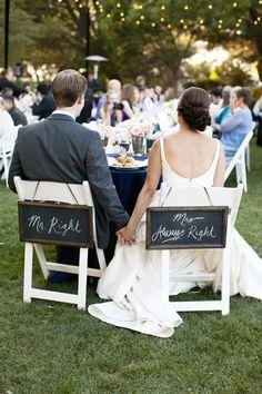 chalkboard wedding chair signs