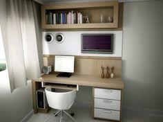 Este pequeno espaço foi super bem aproveitado para composição do home office.