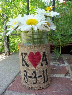 Burlap Flower Vase Mason Quart Jar with by SophiasSignBoutique, $24.00