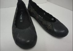 Tatami black flats with cutout design. I use my Birkenstock footbed inserts for these because they have no arch support.