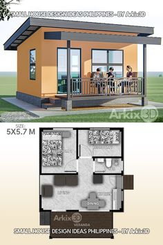 Small House Layout, Modern Small House Design, Simple House Design, Tiny House Design, House Layouts, Sims House Plans, Small House Floor Plans, One Bedroom House, House Construction Plan