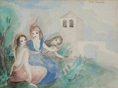 Trois jeunes filles dans le parc du château Impressionist Art, Modern Art, Watercolor, Gallery, Illustration, Painting, The Park, Daughters, Pen And Wash