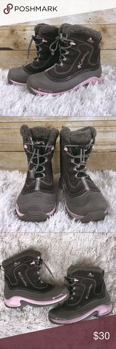 Brown and Pink Columbia Youth Bugaboot - size 3 Brown and Pink Columbia Youth Bugaboot. Waterproof   Some wear on the inside soles(pink area, shown in pic 5) but still in really good condition and has lots of wear left in them! Columbia Shoes Rain & Snow Boots
