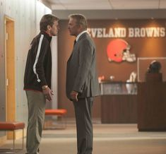"""""""Draft Day"""" movie still, 2014. L to R: Denis Leary, Kevin Costner. Football Movies, Football Fans, Browns Fans, Football Conference, Kevin Costner, Win Or Lose, Reality Check, National Football League, Cleveland Browns"""