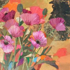 Poppies Painting, Still Life Art, Sally, Plum, Original Paintings, Oriental, Collage, Deep, Canvas