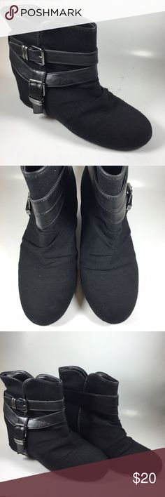 ALDO black wedge boots SIZE 8.5 Stylish boots by Aldo wedge style design with cloth material around boot. EXCELLENT CONDITION SIZE 8.5 Shoes Ankle Boots & Booties
