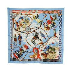 HERMES Dans Le Branches De L'ombu Cowboy Scarf | From a collection of rare vintage scarves at https://www.1stdibs.com/fashion/accessories/scarves/