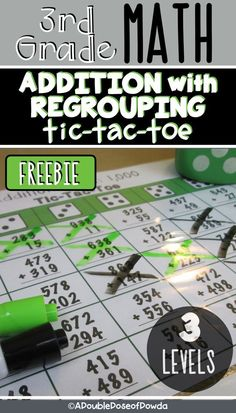 FREE Addition with Regrouping Tic-Tac-Toe Let students practice subtracting with REGROUPING and numbers 6th Grade Math Games, Fun Math Games, Third Grade Math, Grade 3, Math Addition Games, Teaching Addition, Subtraction Activities, Math Activities, Numeracy