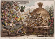 """Broad-Bottom Drones storming the Hive, Wasps, Hornets & Bumble Bees joining the Attack"" (May 2, 1808) - Images of the Ruling Class and the State - James Gilray"