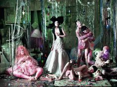 May 2013: Samantha wears petticoat from Beyond Retro. Catherine wears gown and top by Dior Haute Couture; headpiece by Recine. Sung wears briefs by Lyle & Scott. Ning wears vest by All Saints. Shingo wears coat by Giambattista Valli Couture
