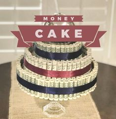 Show stopping way to give a lucky graduate money for their achievement! Use foam circles and clear bands to create the cake shape. just what any graduate would want. Money Birthday Cake, Money Cake, Creative Money Gifts, Creative Things, Creative Ideas, Grad Gifts, Cash Gifts, Party Gifts, Graduation Diy