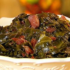Neely's Best Collard Greens Recipe from Down Home with the Neely's on Food Network.Gina Neely's Best Collard Greens Recipe from Down Home with the Neely's on Food Network. Best Collard Greens Recipe, Southern Collard Greens, Southern Mustard Greens Recipe, Fried Greens Recipe, Collard Greens With Bacon, Greens Recipe With Bacon, Crockpot Collard Greens, Recipes With Bacon, Side Dishes