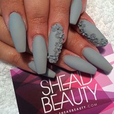 3D Coffin Matte Nails with Flowers