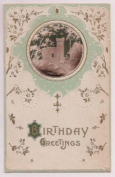 Antique Postcard, birthday greetings