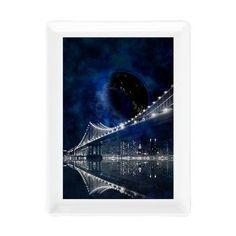 new at @cafepress.com : New!! New #York #City Rectangular #Cocktail #Plate The new york city #manhattan #bridge at #night! A large new #blue #moon appears on the #sky. The night appear in a dark blue light. An amazing #fantasy #skyline scene!  $11.49