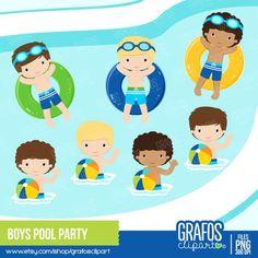 3af45535a BOYS POOL PARTY - Digital Clipart Set