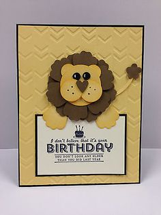 Lion Punch Art Birthday Stampin Up Card Kit (5 cards)