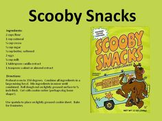 Here's the official recipe -- don't forget the secret ingredient =).  We're sharing a very special recipe with you! Make your own Scooby Snacks and see Scooby and the Gang LIVE as they come to Comerica Theatre to solve an epic Mystery May 14!