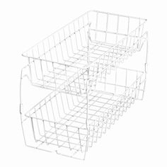 Smart Design Stackable Pull Out Baskets - Sturdy Wire Frame Design - Rust Resistant Vinyl Coat - for Pantries, Countertops, Bathroom - Kitchen x Inch) [White]