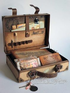LIKE THE IMPRINTS AND SHADING ClayGuana Vintage Suitcase with ATC cards a matchbox and a mini album amazing project with tutorial faire dans une vieille valise de vieill. Vintage Suitcases, Vintage Luggage, Altered Boxes, Altered Art, Anniversaire Harry Potter, Atc Cards, Greeting Cards, Cards Diy, Mini Scrapbook Albums