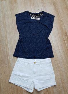 Kaufe meinen Artikel bei #Kleiderkreisel http://www.kleiderkreisel.de/damenmode/t-shirts/137165547-shirt-blau-meliert-spitze-schwarz-vero-moda