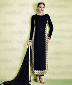 Buy Black Georgette Straight Cut Suit 72744 online at lowest price from huge collection of salwar kameez at Indianclothstore.com.