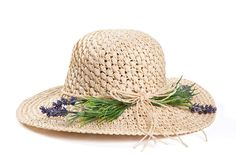 Straw hat , Hats for women , Wide brim hat decorated with lavender.
