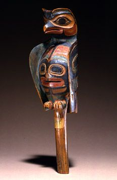 Rattle Tlingit or Coast Tsimshian Southeast Alaska/British Columbia Mainland and Islands c. 1840-1870 Maple, pigment Fenimore Art Museum